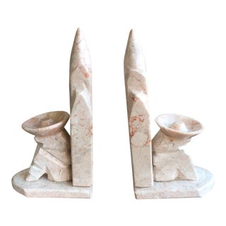 Vintage Marble Siesta Bookends For Sale