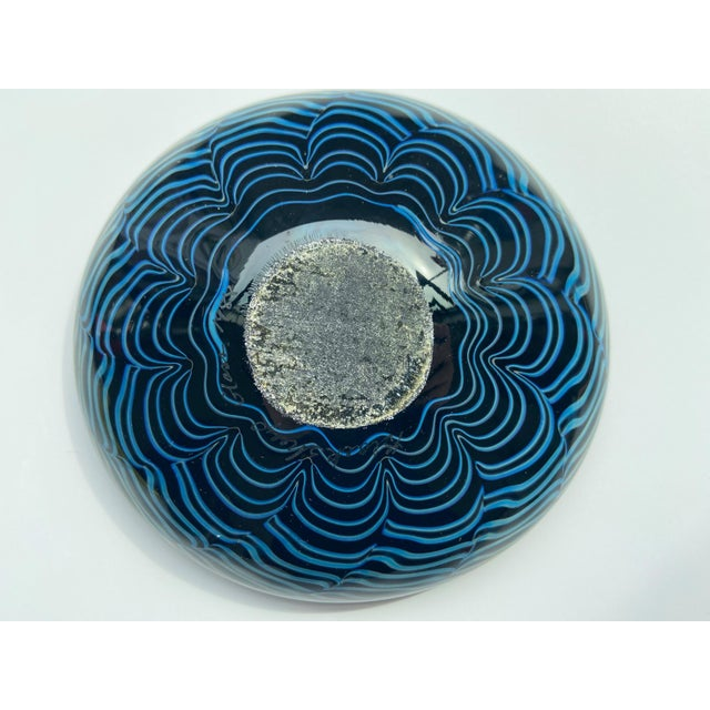 1980s Signed Iridescent Art Glass Dish For Sale - Image 4 of 6