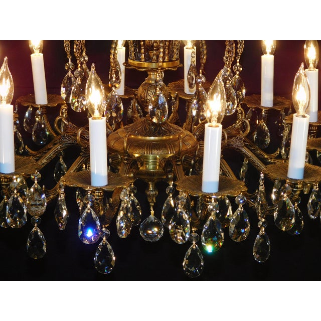 Brass Antique French Brass Cut Lead Crystal Chandelier For Sale - Image 7 of 13