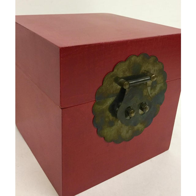 Vintage Chinese Cranberry Wood Brass Box For Sale - Image 4 of 11