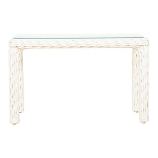 Vintage Thick White Wicker Console Table, 1980s For Sale