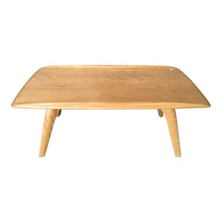 Heywood Wakefield Break Front Blonde Wood Coffee Table For Sale