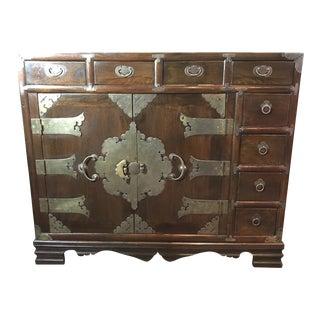 Antique Laquered Wood & Brass Korean Dresser For Sale
