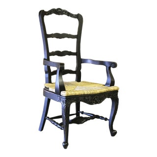 French Country Black Tall Arm Dining Chair For Sale