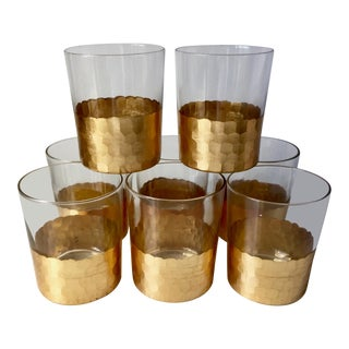 8 Gilt Faceted Tumblers For Sale