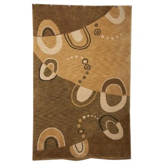 Contemporary Hand Knotted Wool Carpet - 5′3″ × 8′ For Sale