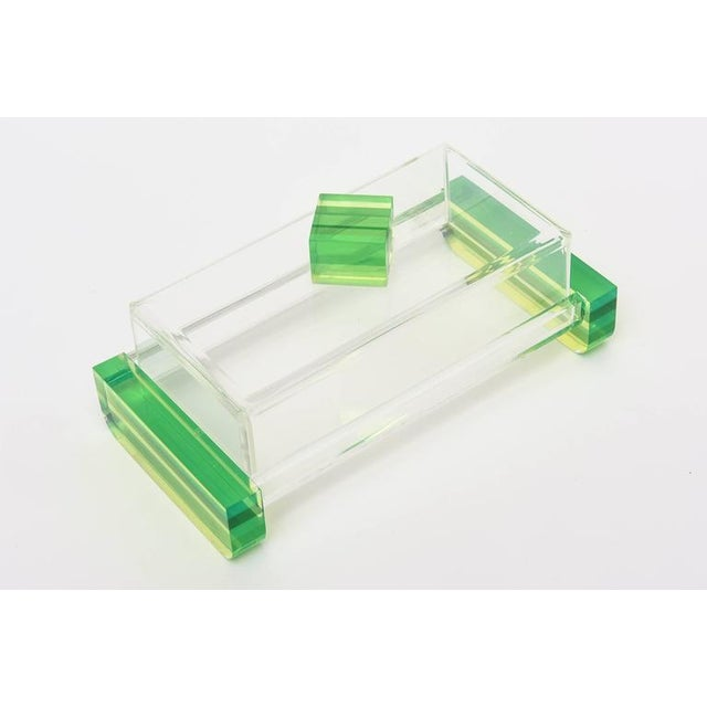 Charles Hollis Jones Style Colored Lucite Two Part Box For Sale In Miami - Image 6 of 9