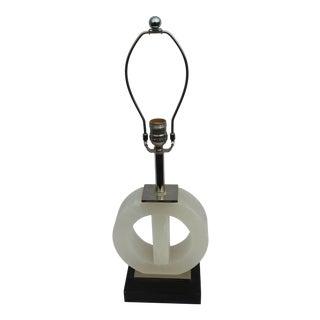 Art Deco Alabaster Black Marble Base Lamp For Sale