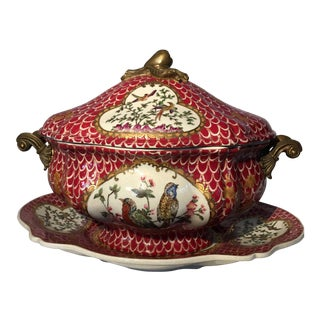 Large Chinese Porcelain Lidded Tureen & Tray For Sale