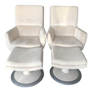 Cream Ultra Suede Swivel Chairs & Ottomans - A Pair
