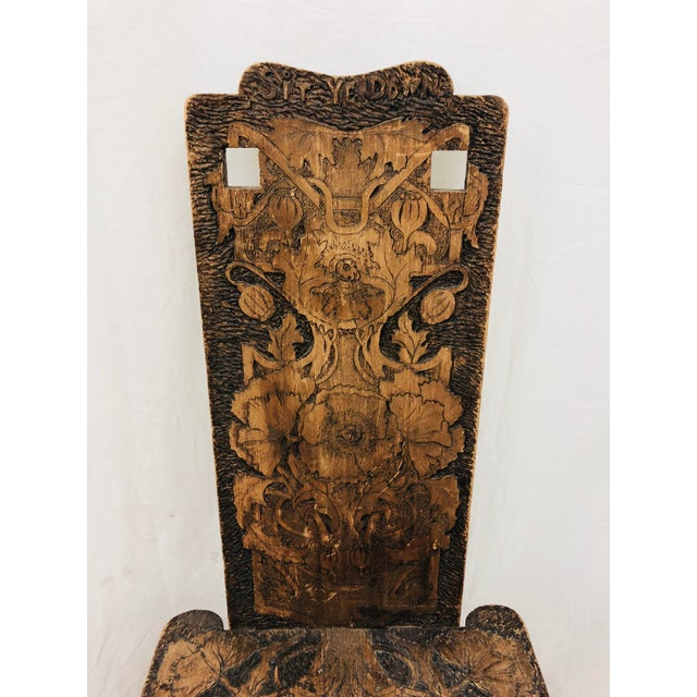 Antique Arts & Crafts Hand Carved Chair For Sale - Image 4 of 9