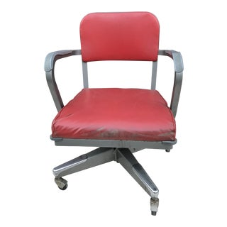 Mid-Century Oxblood Red Tanker Desk Chair