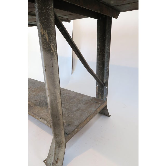 Industrial Plank Top Work Table For Sale In Los Angeles - Image 6 of 7