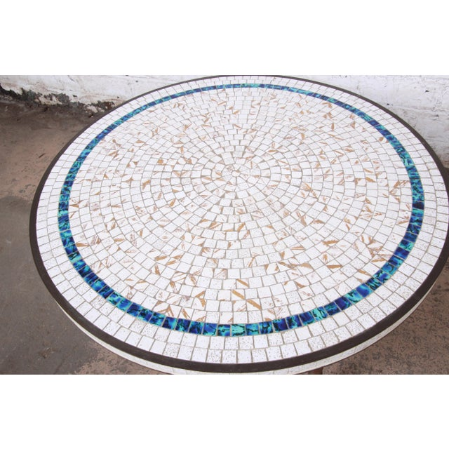 1950s Italian Mid-Century Modern Mosaic Tile and Brass Cocktail Table, 1950s For Sale - Image 5 of 10