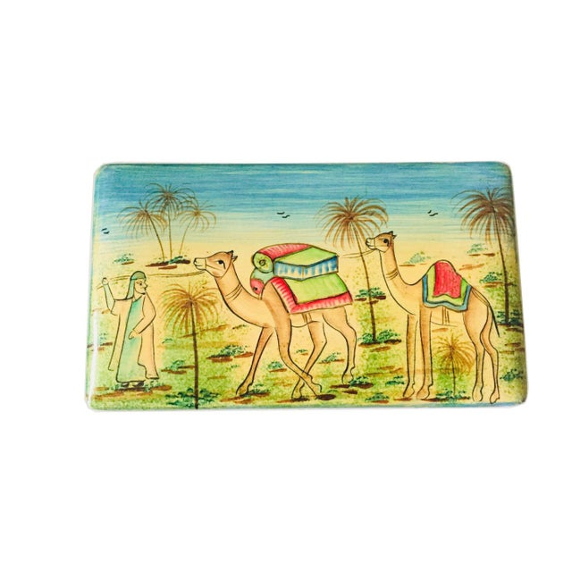 "India Painted Wood Box with a West Asia motif. 5"" wide x 3"" deep x 3"" tall. Holds note cards or business cards."