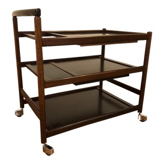 Johannes Andersen for Dyrlund Rosewood and Black Formica Rolling Bar Cart With Pull Out Cutting Board and Utensil Tray For Sale