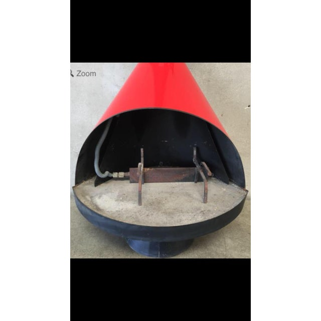 Mid Century Red Indoor/Outdoor Fireplace For Sale In Los Angeles - Image 6 of 6