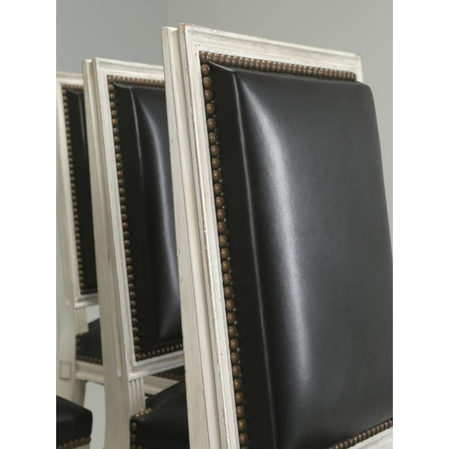 French Louis XVI Style Dining Chairs in Black Leather and Distressed White Paint - Set of 6 For Sale - Image 4 of 12