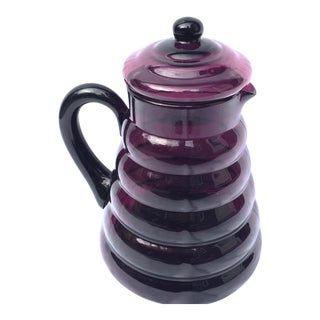 1940s Purple Depression Glass Water Pitcher For Sale