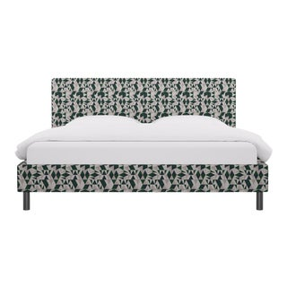 King Tailored Platform Bed in Emerald Conte For Sale