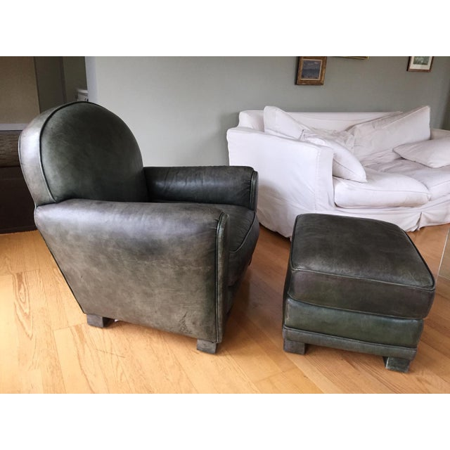 Dark Green Leather Club Chairs and Ottoman by Grange - Set of 3 For Sale In Philadelphia - Image 6 of 13