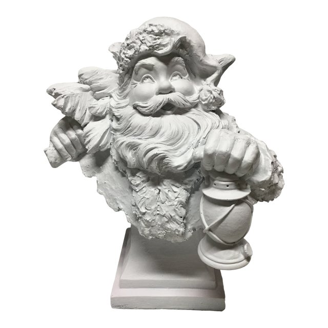 Vintage Santa Carrying Lantern and Christmas Tree Statue or Bust For Sale