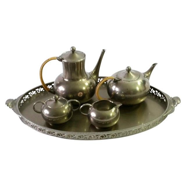 1960s Vintage Royal Holland Pewter Tea Serving Set For Sale