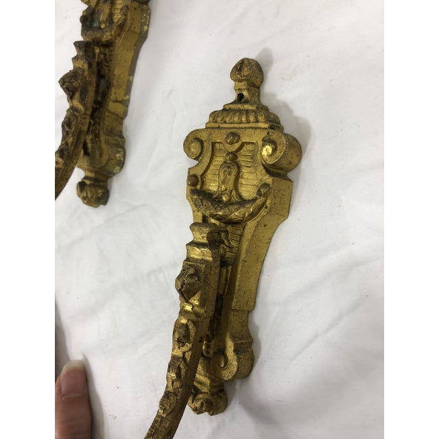 French French Antique 19th Century Gilded Bronze Curtain Tie Backs or Hooks - a Pair For Sale - Image 3 of 4