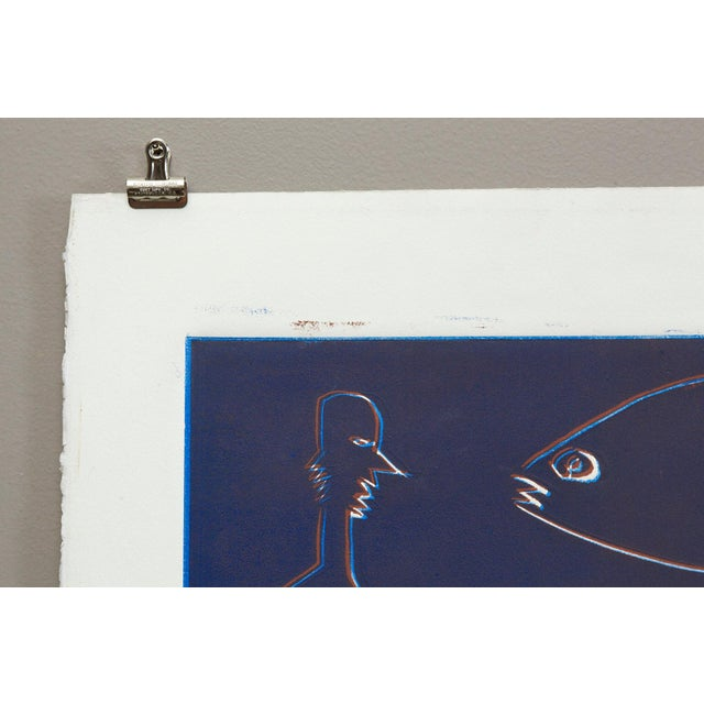 Wyona Diskin, Blue Man with Fish circa 1987 For Sale In New York - Image 6 of 9