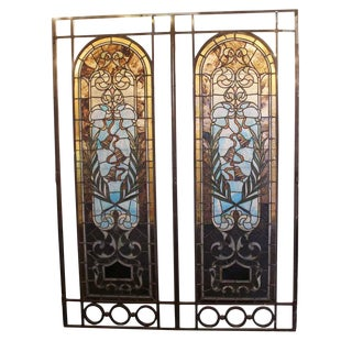 20th Century Traditional Hinged Large Stained Glass Windows - a Pair For Sale