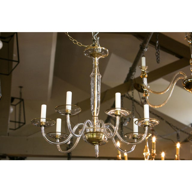 Blown Glass Italian Clear Glass Chandelier For Sale - Image 7 of 8