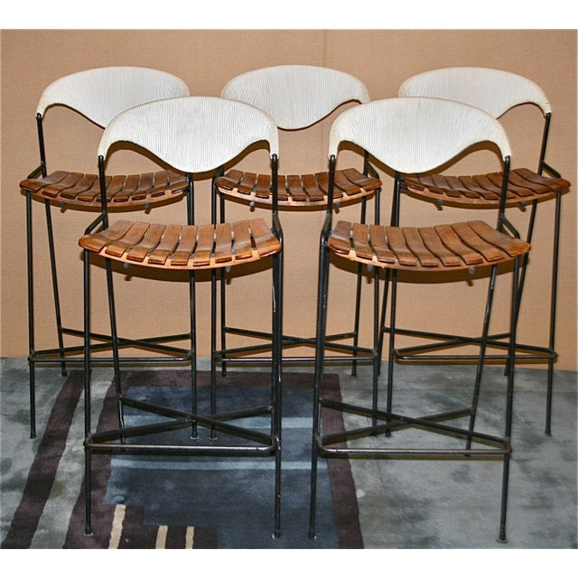 Vintage Arthur Umanoff Wrought Iron Barstools - Set of 5 - Image 2 of 11