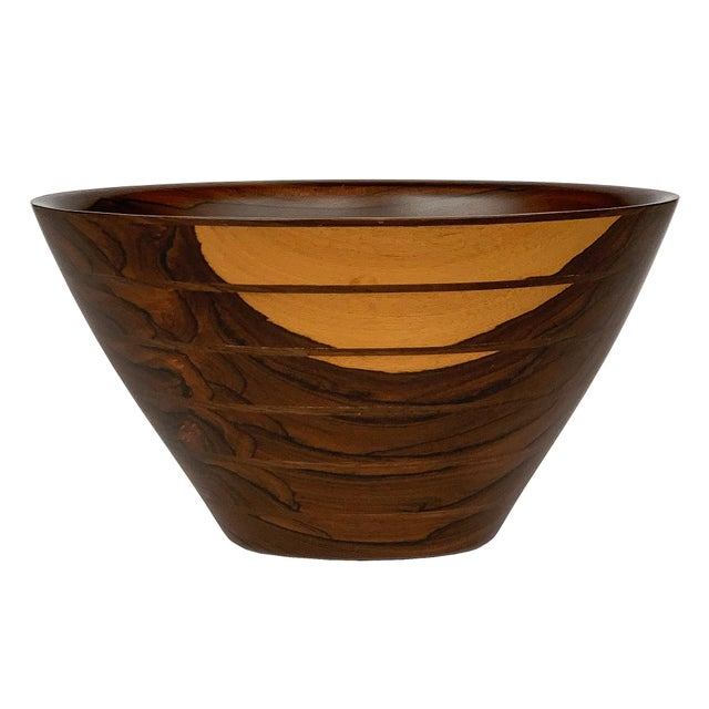 Peter Petrochko Carved Padauk and Ziricote Wood Bowl For Sale - Image 13 of 13