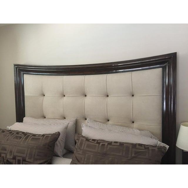 Modern Tufted King Bed in Beige Suede - Image 5 of 10
