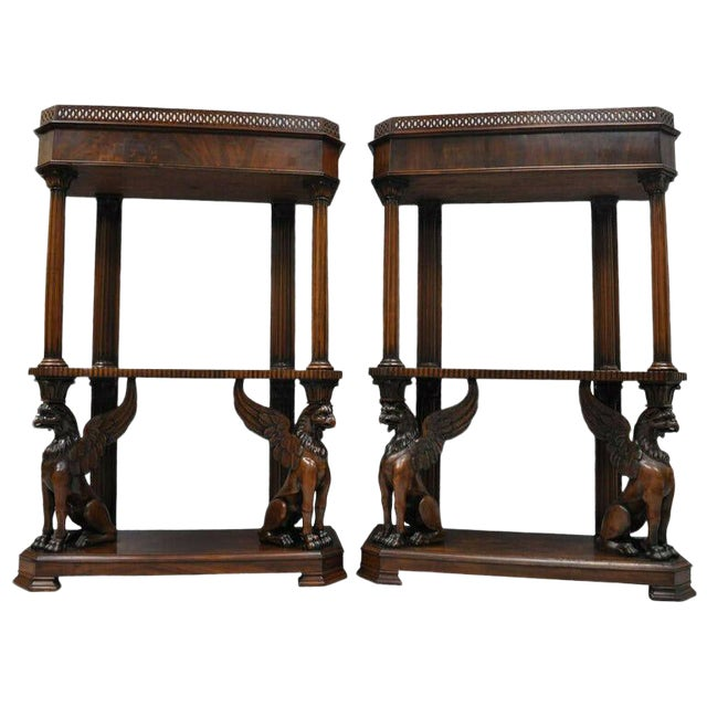Mahogany Regency Style Carved Griffin Bookcase Horner Style-a Pair For Sale
