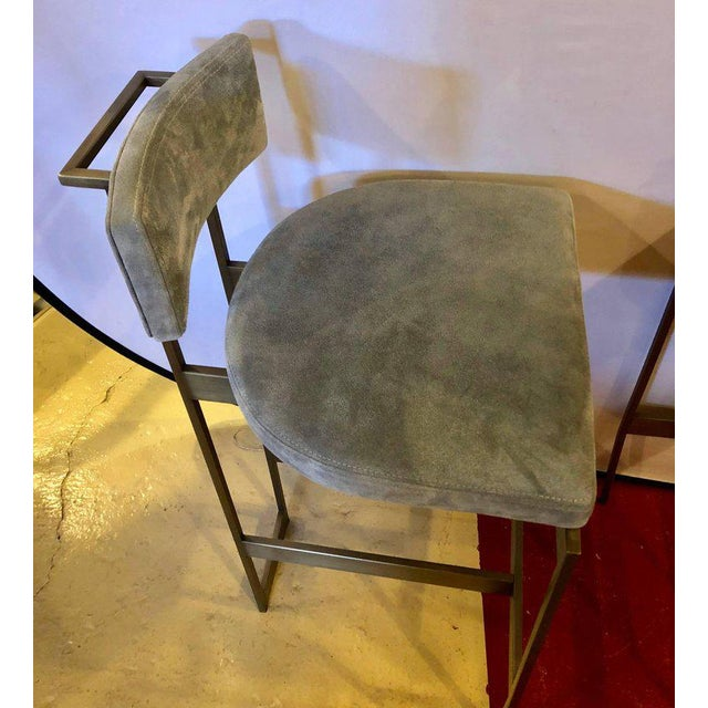 Set of Four Powell and Bonnell 'Alto' Suede Bar Stools For Sale In New York - Image 6 of 14