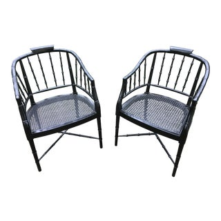 1960s Chippendale Faux Bamboo Black Barrel Back Chairs With Cane Seats - a Pair For Sale