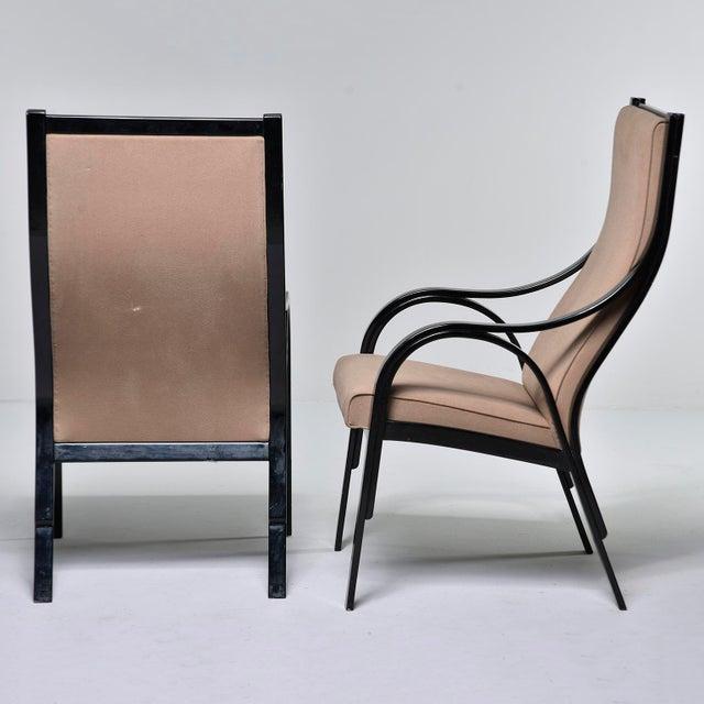 Pair Mid Century Ebonised High Back Italian Armchairs For Sale - Image 4 of 10