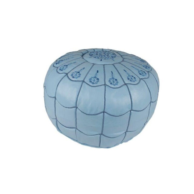 Light Blue Moroccan Leather Pouf - Image 3 of 3