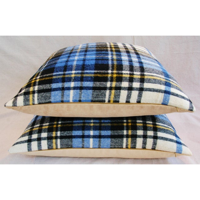 """Textile Vintage Scottish Tartan Plaid Wool Feather/Down Pillows 24"""" Square - Pair For Sale - Image 7 of 11"""
