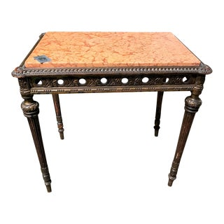 Antique 1890s French Giltwood and Marble Top Side Table