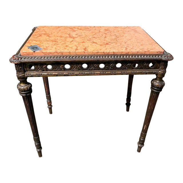 Antique 1890s French Giltwood and Marble Top Side Table - Image 1 of 4