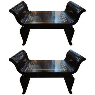 1960s Hollywood Regency James Mont Black Lacquered Benches - a Pair