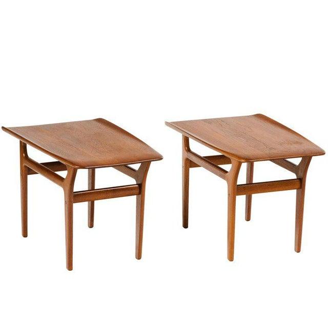 Danish Modern Pair of Danish Mid Century Modern Teak Side Tables For Sale - Image 3 of 13
