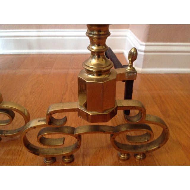 20th Century Traditional Brass Fireplace Andirons - a Pair For Sale - Image 11 of 12