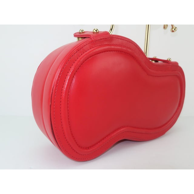 Red Freon Firenze Italian Red Leather Handbag With Unique Handle For Sale - Image 8 of 12