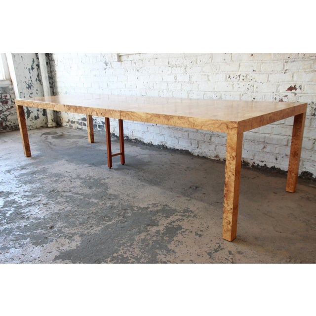 Directional Milo Baughman for Directional Burl Wood Parsons Extension Dining Table For Sale - Image 4 of 11