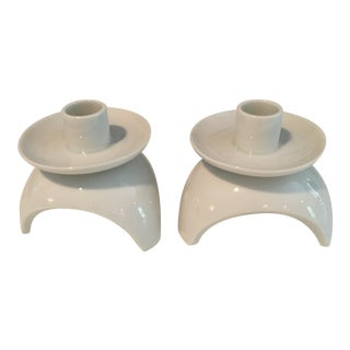 1960s Vintage Japanese Solid White Modern Candleholders - a Pair