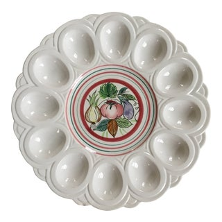 Mid-Century Scalloped Edge Hand Painted Deviled Egg Tray For Sale