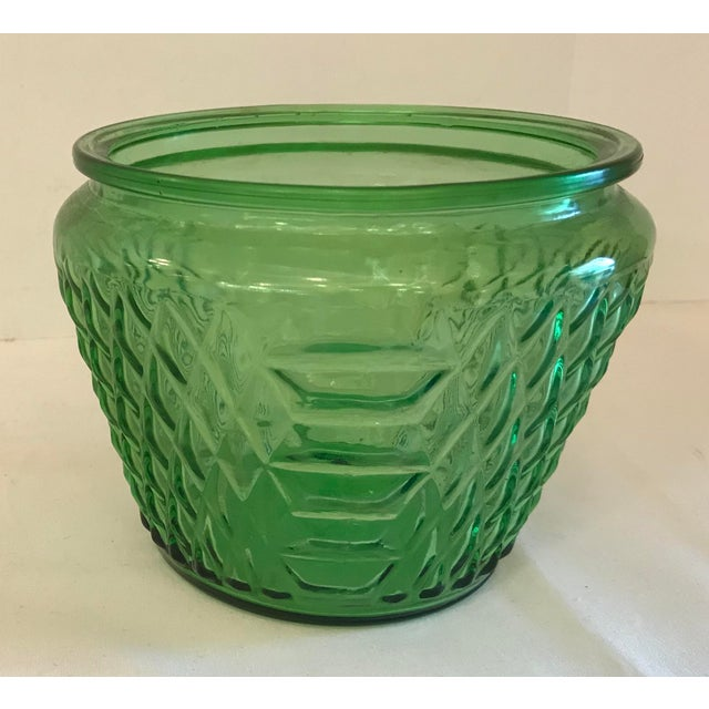 Mid 20th Century Mid Century Green Glass Patterned Vase/Planter For Sale - Image 5 of 8